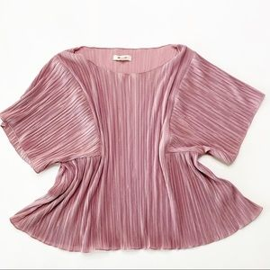 Madewell Pink Pleated Cropped Babydoll Top L